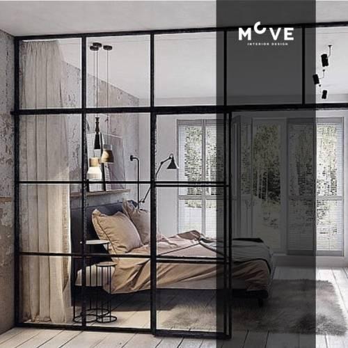 Siyah Çerçeveli Cam Duvar Yatak Odası ve Açık Plan Yaşam